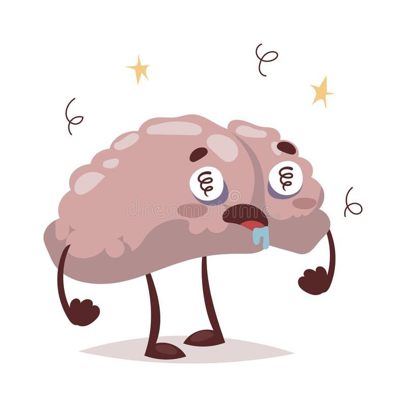 Cattiva illustrazione di vettore di emicrania e del cervello illustrazione vettoriale