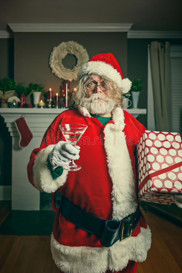 Cattiva Santa Getting Wasted On Christmas immagini stock libere da diritti