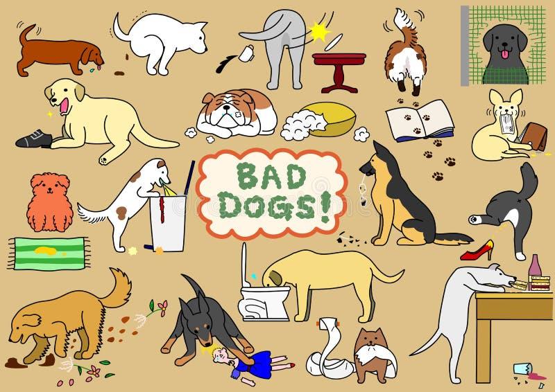 Cattivi cani messi illustrazione di stock