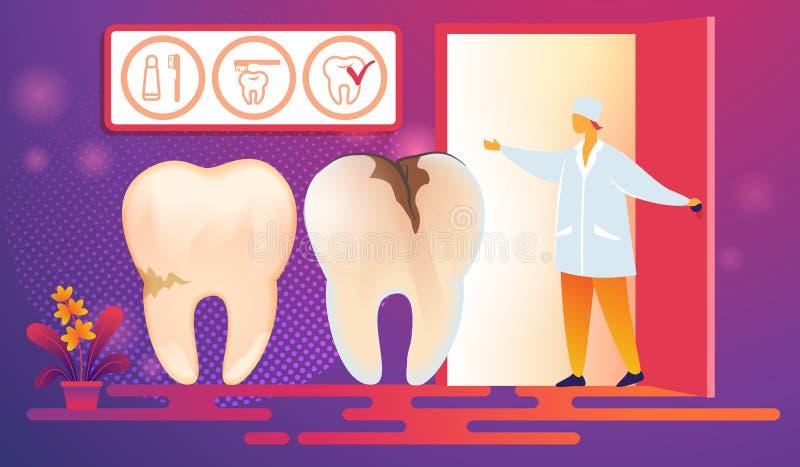 Cattivi denti con le carie Desease prossimo sulla procedura illustrazione di stock