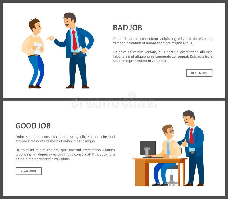 Cattivo e buon manifesto di vettore di lavoro, capo insoddisfatto royalty illustrazione gratis