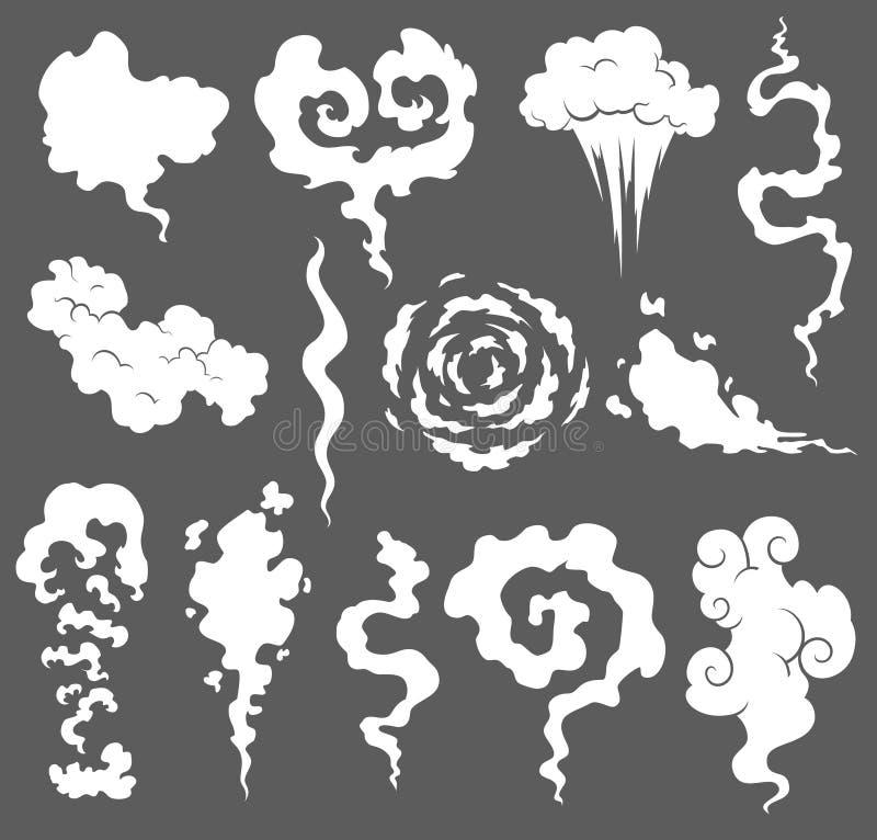 Cattivo odore Nuvole di fumo Cuocia a vapore le nuvole di fumo delle sigarette o di vecchio vettore scaduto dell'alimento che cuc illustrazione di stock