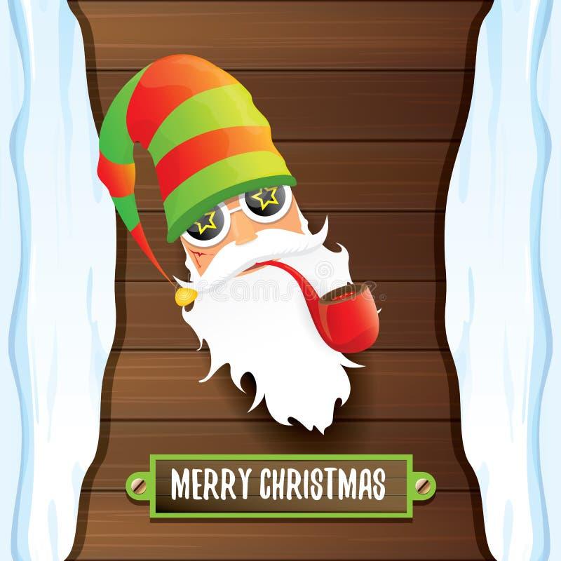 Cattivo rotolo DJ il Babbo Natale della roccia n di vettore con il tubo di fumo, la barba funky ed accogliere testo calligrafico  royalty illustrazione gratis