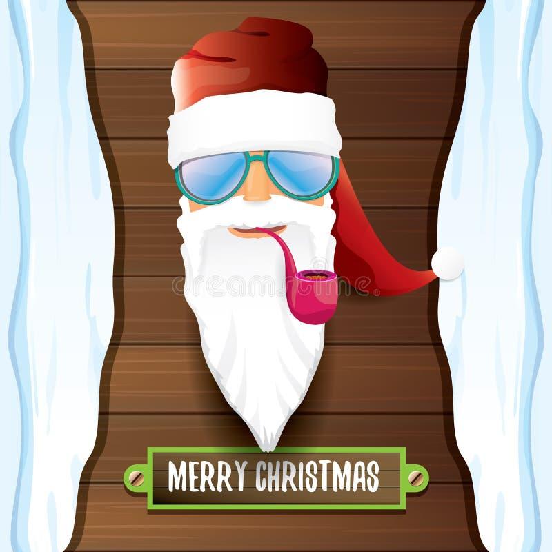 Cattivo rotolo DJ il Babbo Natale della roccia n di vettore con il tubo di fumo, la barba funky ed accogliere testo calligrafico  illustrazione di stock