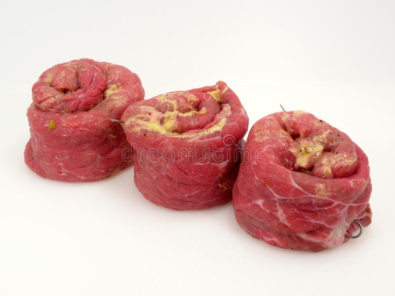 Cattle-beef. Rolled and filled cattle-beef stock photo