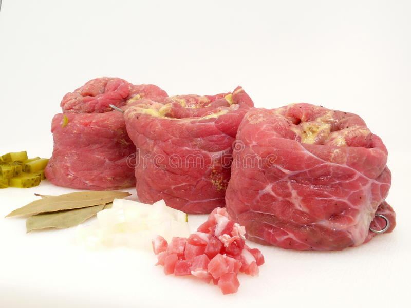 Cattle-beef. Rolled and filled cattle-beef royalty free stock photos
