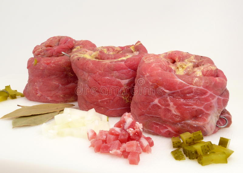 Cattle-beef. Rolled and filled cattle-beef royalty free stock image