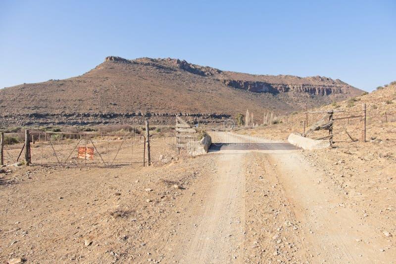Karoo farm dirt road grid stock images