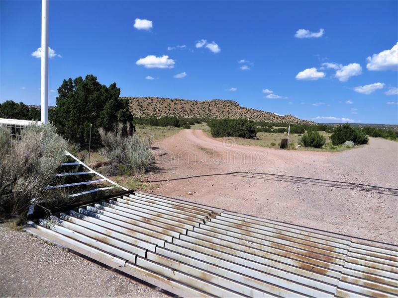 Cattle grid and mountain view, New Mexico stock image
