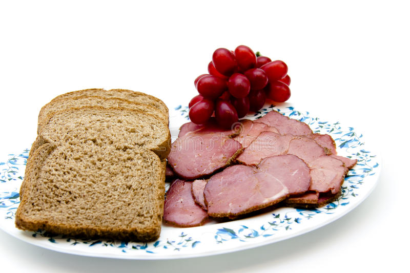 Cattle ham with toast bread stock photos