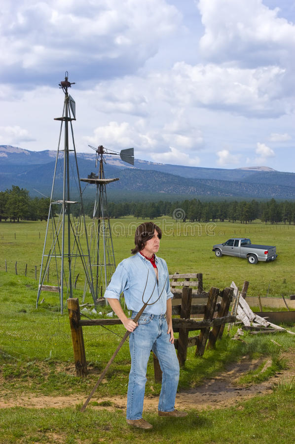 Free Cattle Ranch Hand In The West, Man Working Stock Image - 27858821