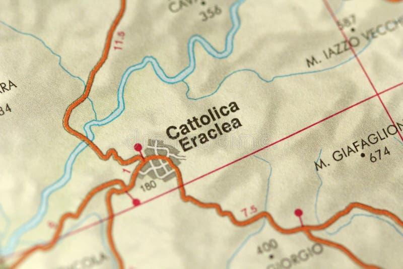 Cattolica Eraclea карта Острова Сицилии, Италии стоковые изображения rf