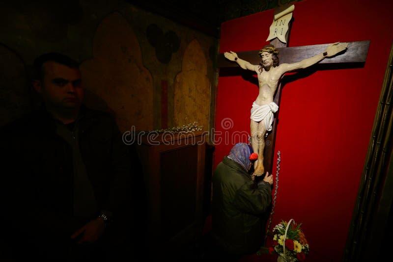 Cattolici - Domenica delle Palme - Bucarest, Romania fotografia stock libera da diritti