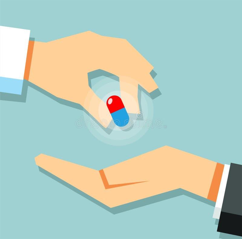 Cattura delle pillole Capsula della tenuta della mano di medico Trattamento medico illustrazione di stock