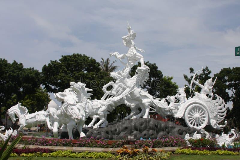 Catur Muka雕象在巴厘岛 免版税图库摄影
