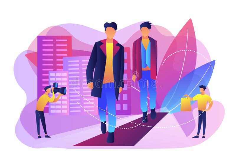 Men`s style and fashion concept vector illustration. royalty free illustration