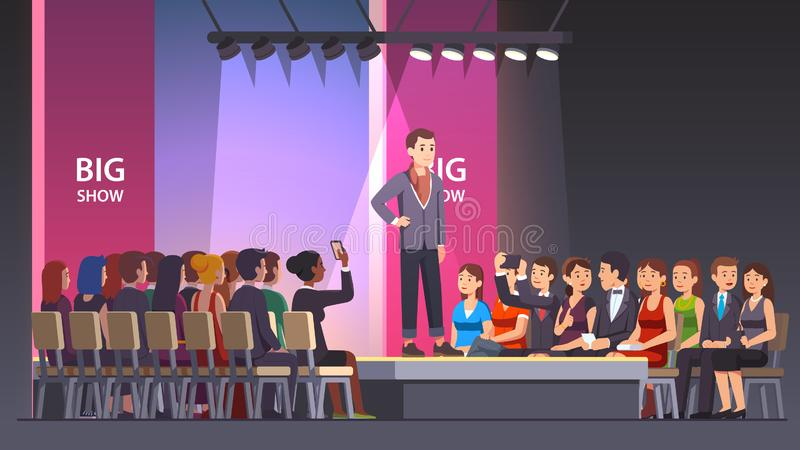Catwalk fashion model man walking on runway stock illustration