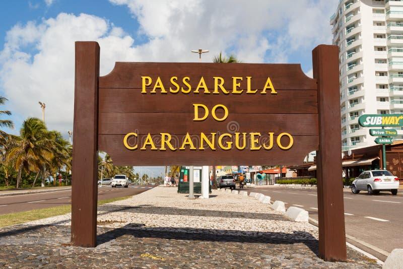 Catwalk Passarela de caranguejo på den berömda stranden Atalaia, Aracaju arkivfoto