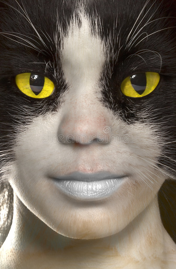 Catwoman with brightly yellow eyes.  royalty free stock images