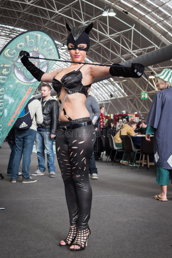 Catwoman cosplayer posing at Festival del Fumetto convention in Milan, Italy stock image