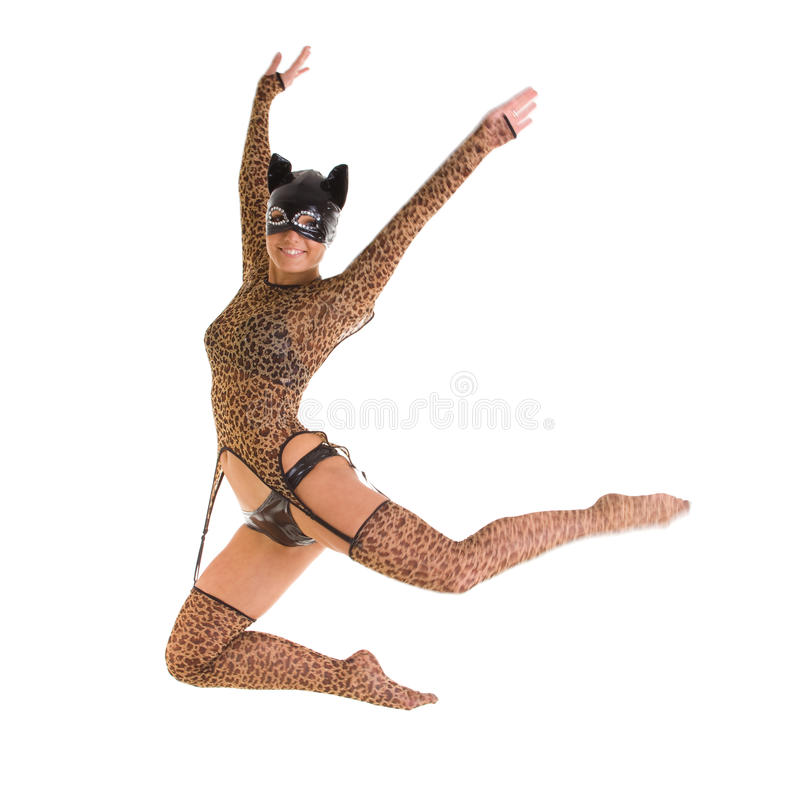 catwoman doskakiwanie zdjęcia royalty free