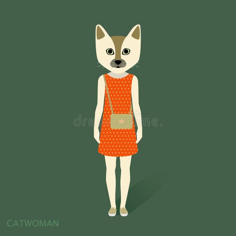 Catwoman klänning stock illustrationer