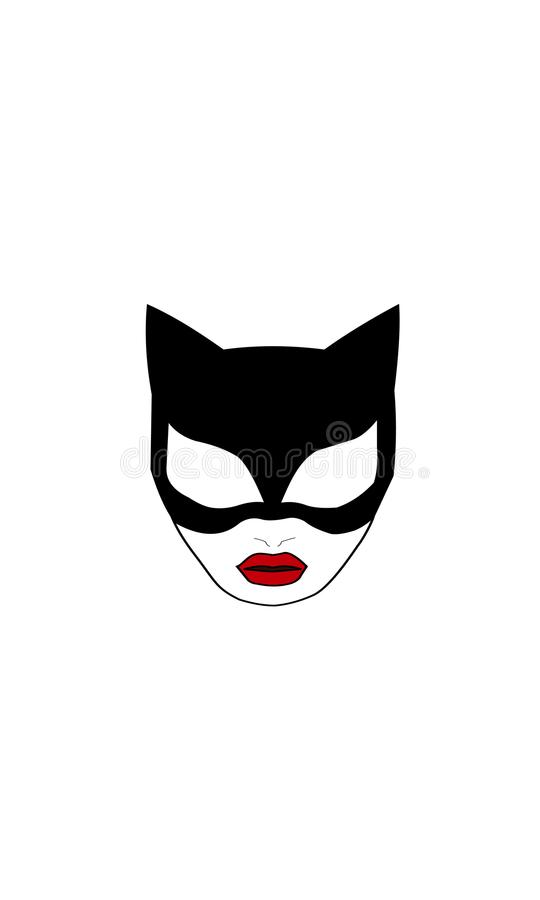 Catwoman superhero. Cat Woman mask. Vector silhouette of girl cat vector illustration