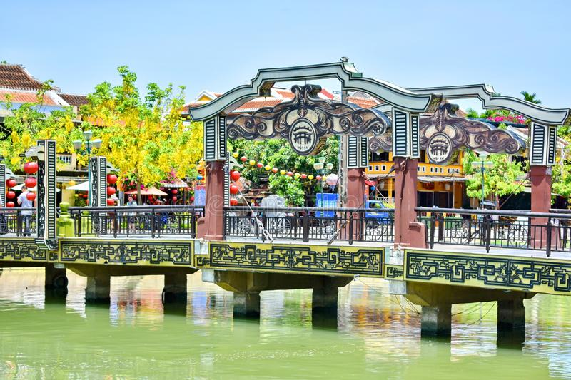 Cau Hoi Bridge in Hoi An, Vietnam immagine stock