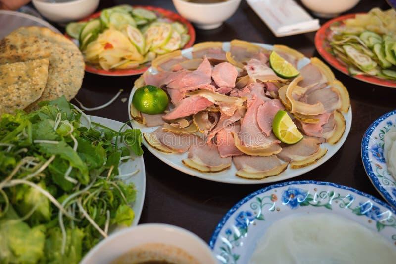 Cau Mong barbequed kalfsvlees is zo beroemd zoals Quang-noedel in Da Nang en Quang Nam, Vietnam Het wordt ook geroepen met vertro royalty-vrije stock foto's