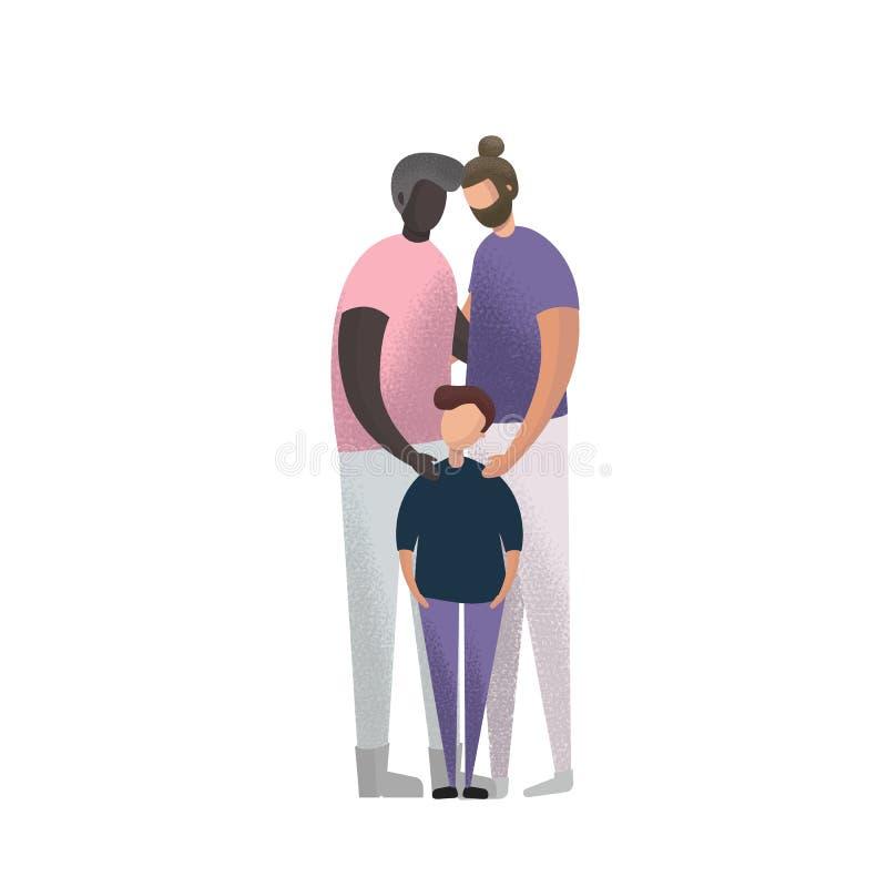 Caucásico del ejemplo del vector y pareja gay afroamericana e hijo de la adopción ilustración del vector