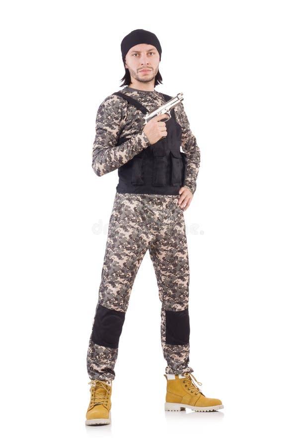 Caucasian żołnierz z pistolecikiem odizolowywającym dalej zdjęcia stock