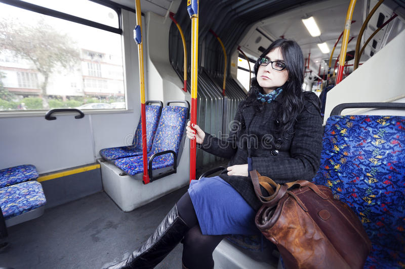 Bus Woman royalty free stock photography