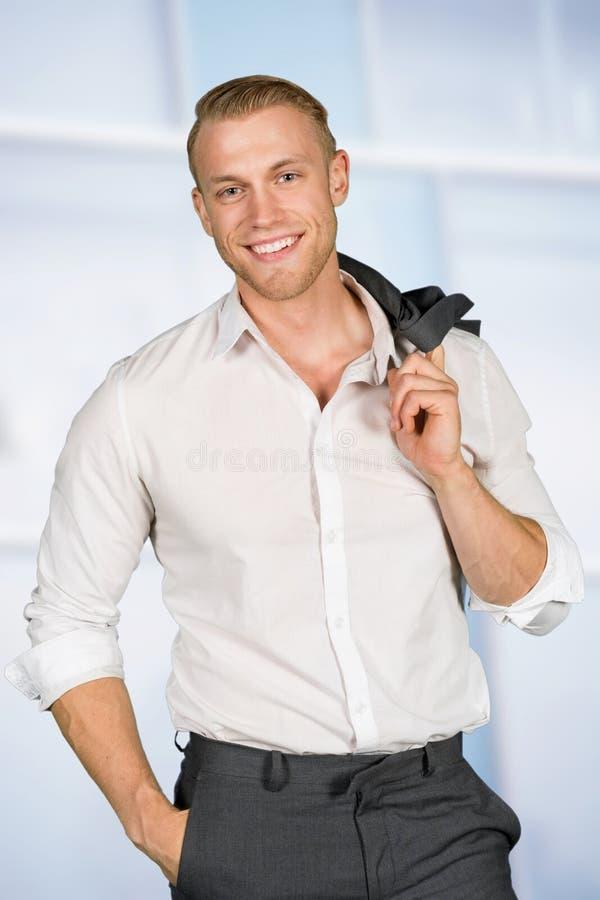 Caucasian affärsman At Work royaltyfri bild