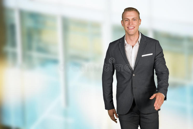 Caucasian affärsman At Work royaltyfri fotografi