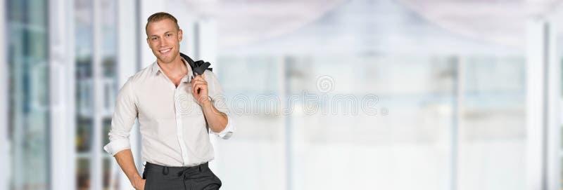 Caucasian affärsman At Work royaltyfria bilder
