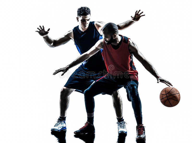 Caucasian and african basketball players man silhouette stock photos