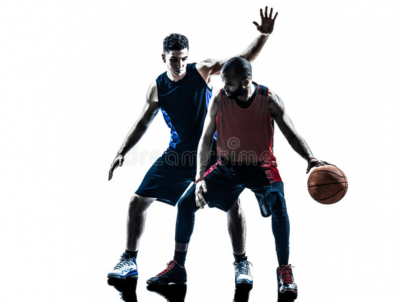 Caucasian and african basketball players man royalty free stock images