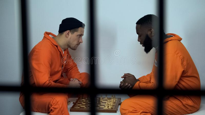 Caucasian and afro-american jail inmates playing chess in cell, prison hobby. Stock photo stock photography