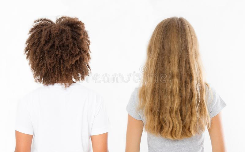 Caucasian and afro woman hair type set back view isolated on white background. African curly hairstyle, ombre and wavy blonde hair. Caucasian and afro women hair royalty free stock images