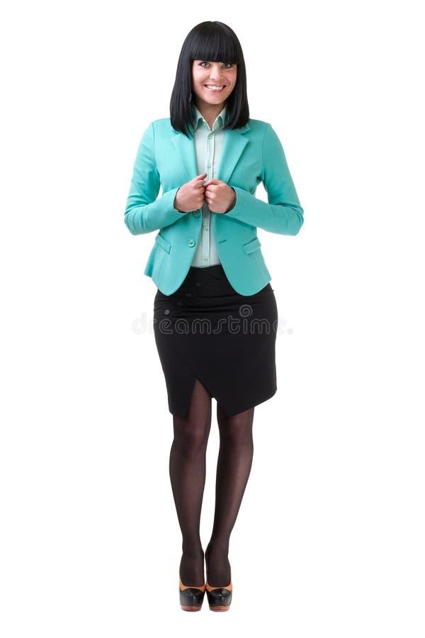 Caucasian anseende för affärskvinna, full längdstående som isoleras på vit arkivbilder