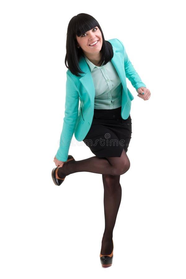 Caucasian anseende för affärskvinna, full längdstående som isoleras på vit royaltyfria foton
