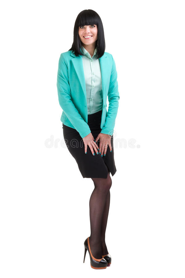 Caucasian anseende för affärskvinna, full längdstående som isoleras på vit royaltyfri foto
