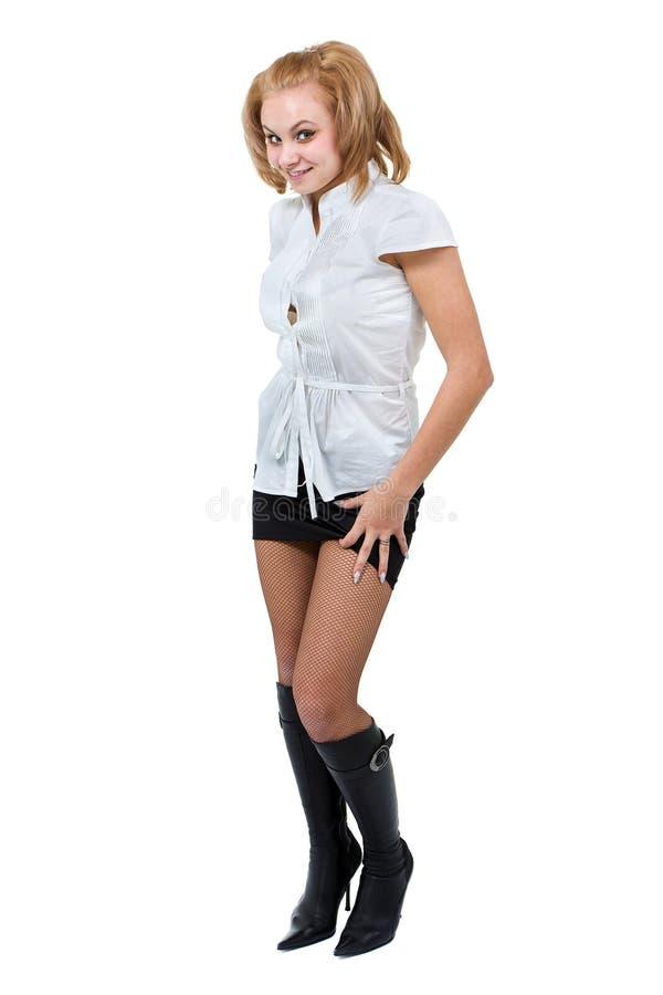 Caucasian anseende för affärskvinna, full längdstående som isoleras på vit royaltyfri fotografi
