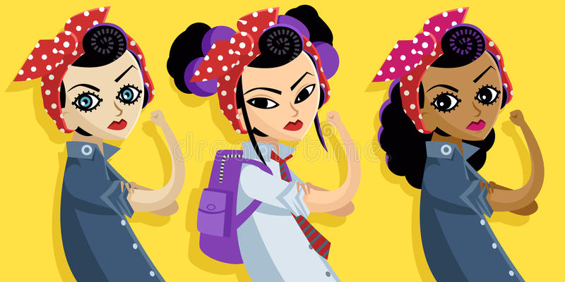 Caucasian asian and african feminist multicultural girls royalty free illustration