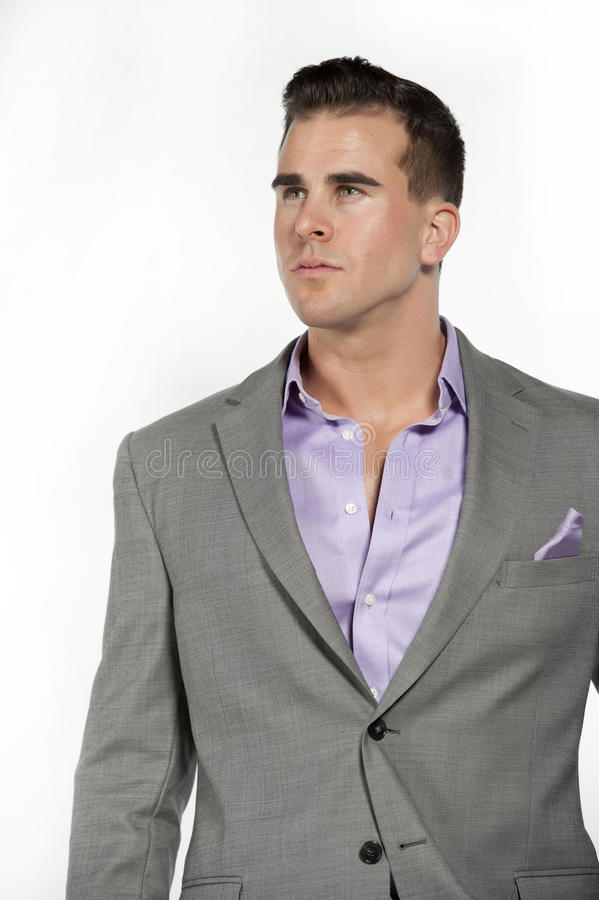 Caucasian Athletic Male In Fitted Gray Suit Stock Photo - Image ...