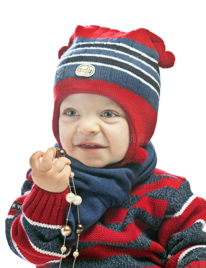 Download Caucasian Baby Boy In A Cap Stock Image - Image of portrait, emotion: 21081631