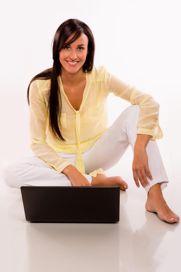 Download Caucasian Beauty With Her Laptop Stock Image - Image: 26796819