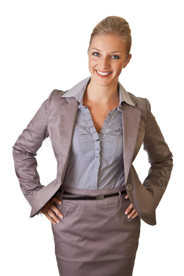 Caucasian blond businesswoman in suit royalty free stock photography