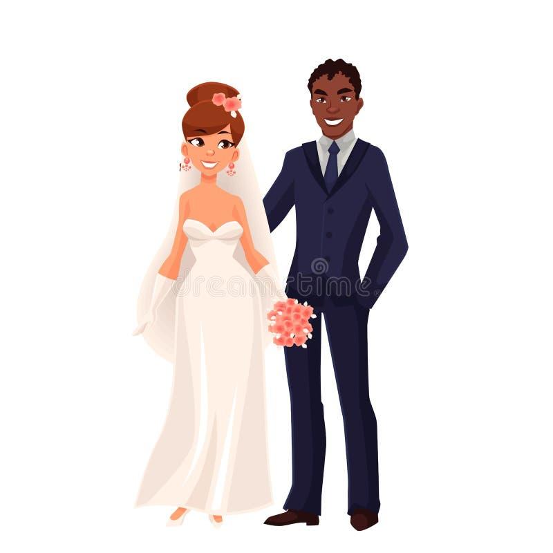 Caucasian brud och afrikansk brudgum, precis gift par stock illustrationer