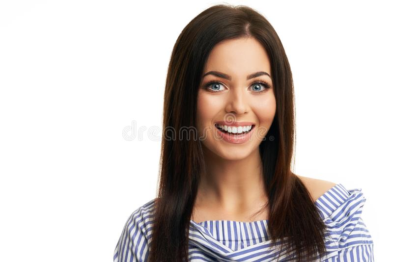 Caucasian brunette woman having fun and smiling isolated over white background royalty free stock image
